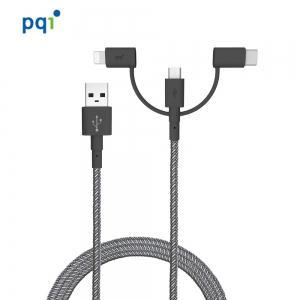 PQI i-Cable  3 合 1 多用途快速充電傳輸線(180cm) 通過 MFI 蘋果認證