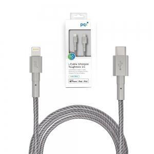 PQI lightning to USB-C高密度纖維編織傳輸充電線 (通過蘋果認證)